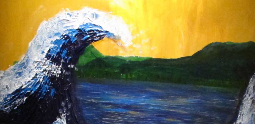 Painting of waves crashing with landscape